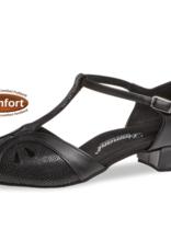 "Diamant 019-029-153-Ballroom Shoes 1"" Suede Sole Leather/Suede-BLACK/PYTHON"