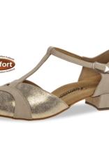 "Diamant 016-029-475-Ballroom Shoes 1"" Suede Sole Suede-BEIGE/GOLD"