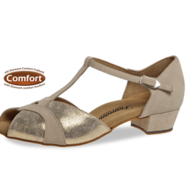 "Diamant 016-029-475-Ballroom Shoes 1"" Suede Sole Suede-BEIGE/GOLD"