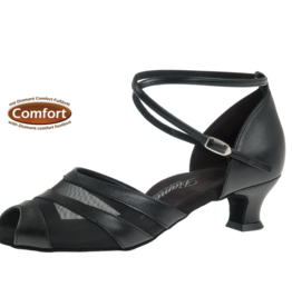 """Diamant 102-011-034-Ballroom Shoes 1.5"""" Suede Sole Leather-BLACK"""