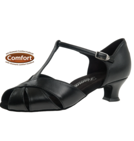 "Diamant 038-011-034-Ballroom Shoes 1.5"" Suede Sole Leather-BLACK"