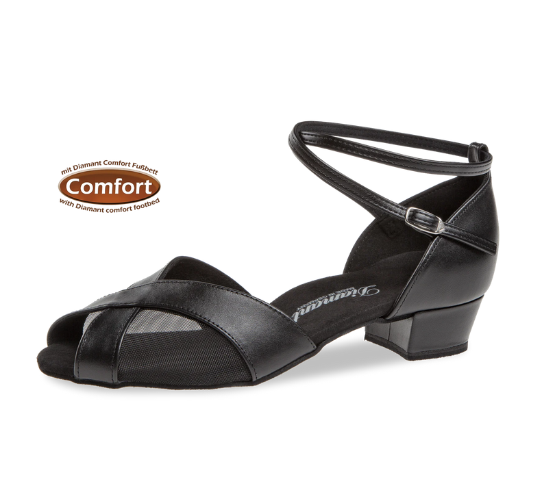"""Diamant 114-029-034-Ballroom Shoes 1"""" Suede Sole Leather-BLACK"""