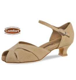"Diamant 011-011-526-Ballroom Shoes 1.5""Suede Sole Suede-BEIGE"