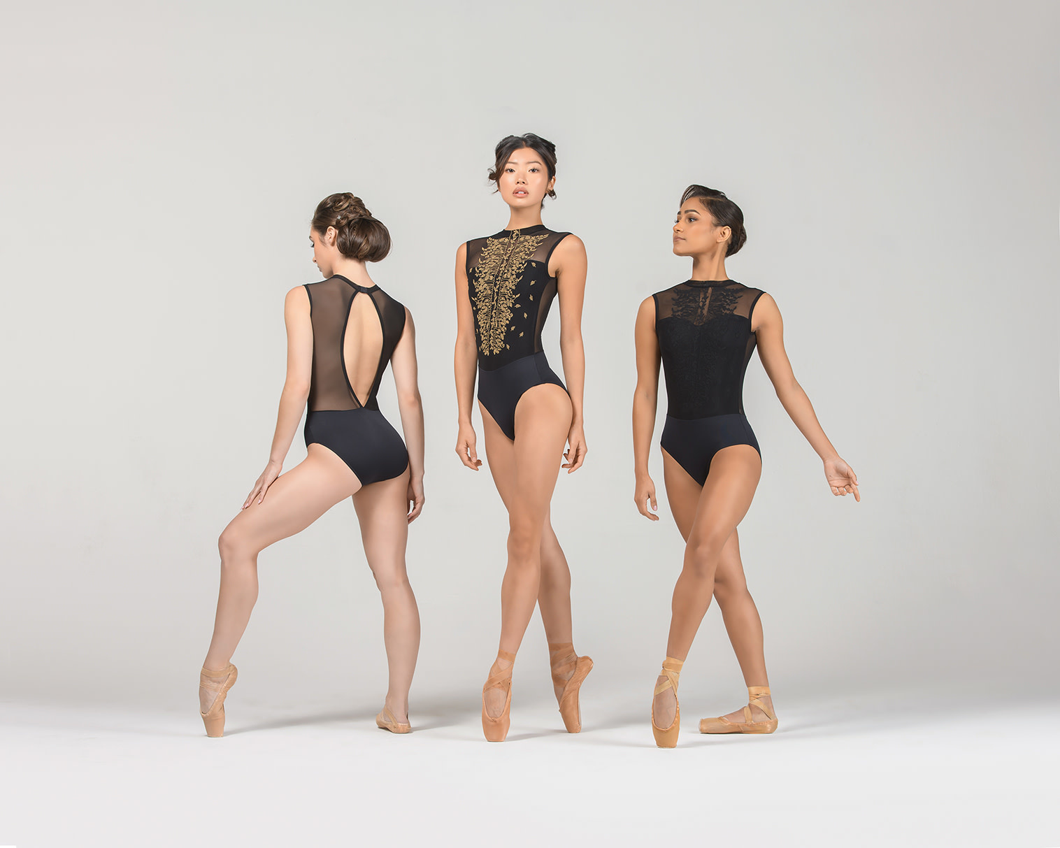 Ballet Rosa HARPER-High Neck Leotard With Embroidered Floral Mesh-NOIR