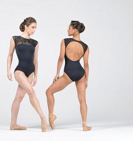 Ballet Rosa LESLY-Leotard Devant En Coeur Dos Ouvert-NOIR