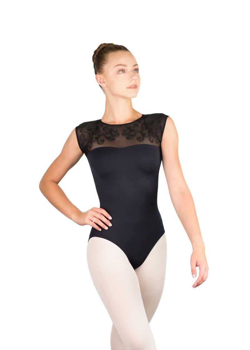 Ballet Rosa LESLY-Sweetheart Neckline Open Back Leotard-NOIR