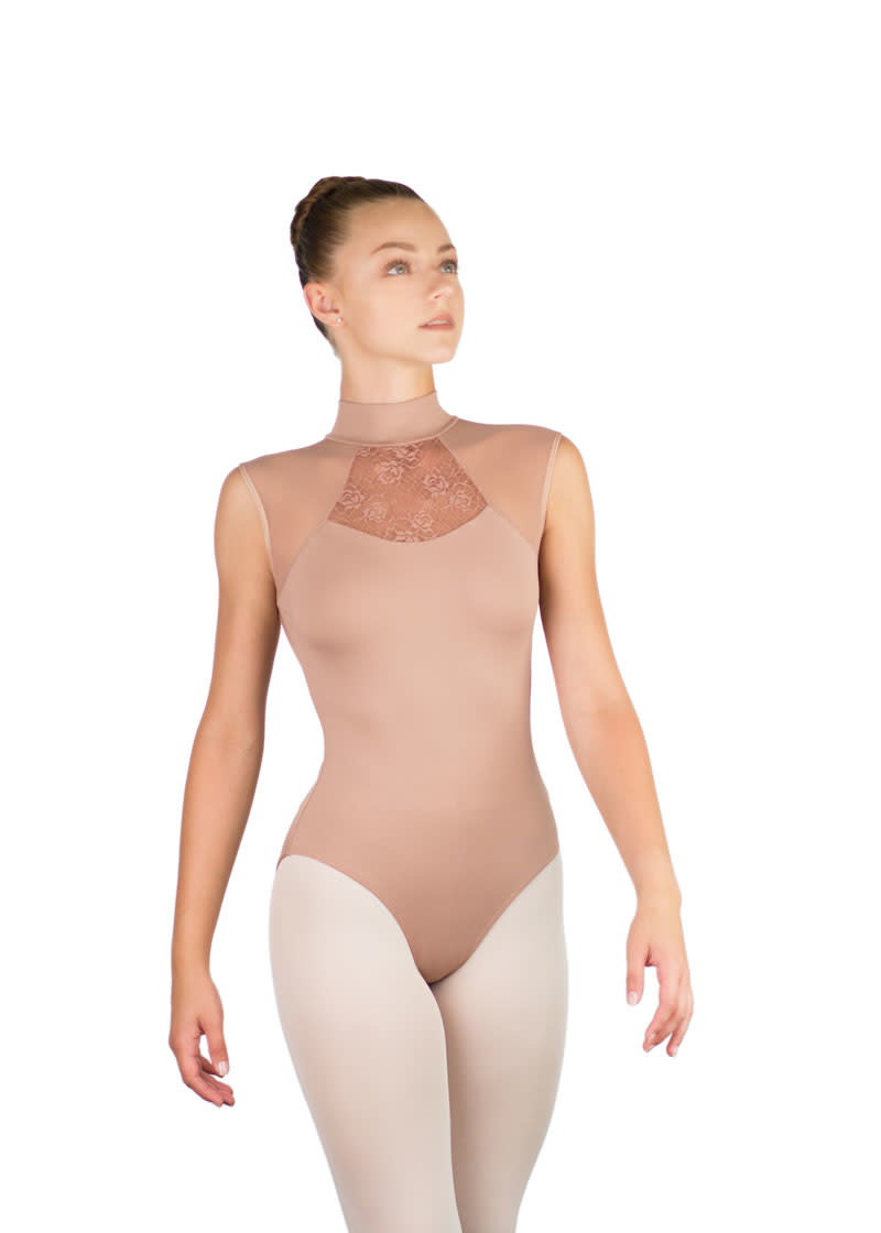 Ballet Rosa ANITA-High Neck Leotard With Mesh And Lace