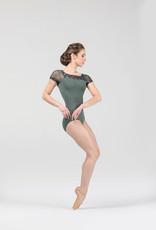 Ballet Rosa AURORA-Leotard Col Carré Manches Courtes