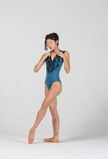 Ballet Rosa SIMONE-Leotard Zippé à L'avant Avec Imprimé en Velours