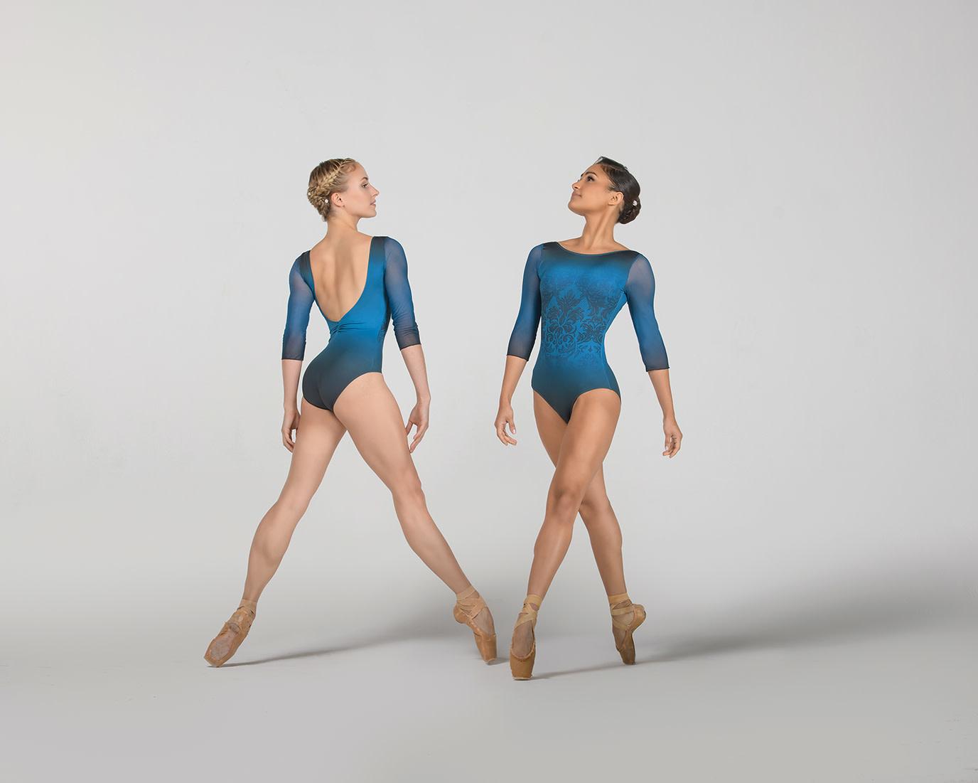 Ballet Rosa SEVERINE-3/4 Sleeve Round Neck Leotard-ENCRE BLEU-38 (S)
