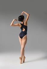 Ballet Rosa HOPE-V Front Wide Gathered Cross Strap Leotard-NOIR-38 (S)