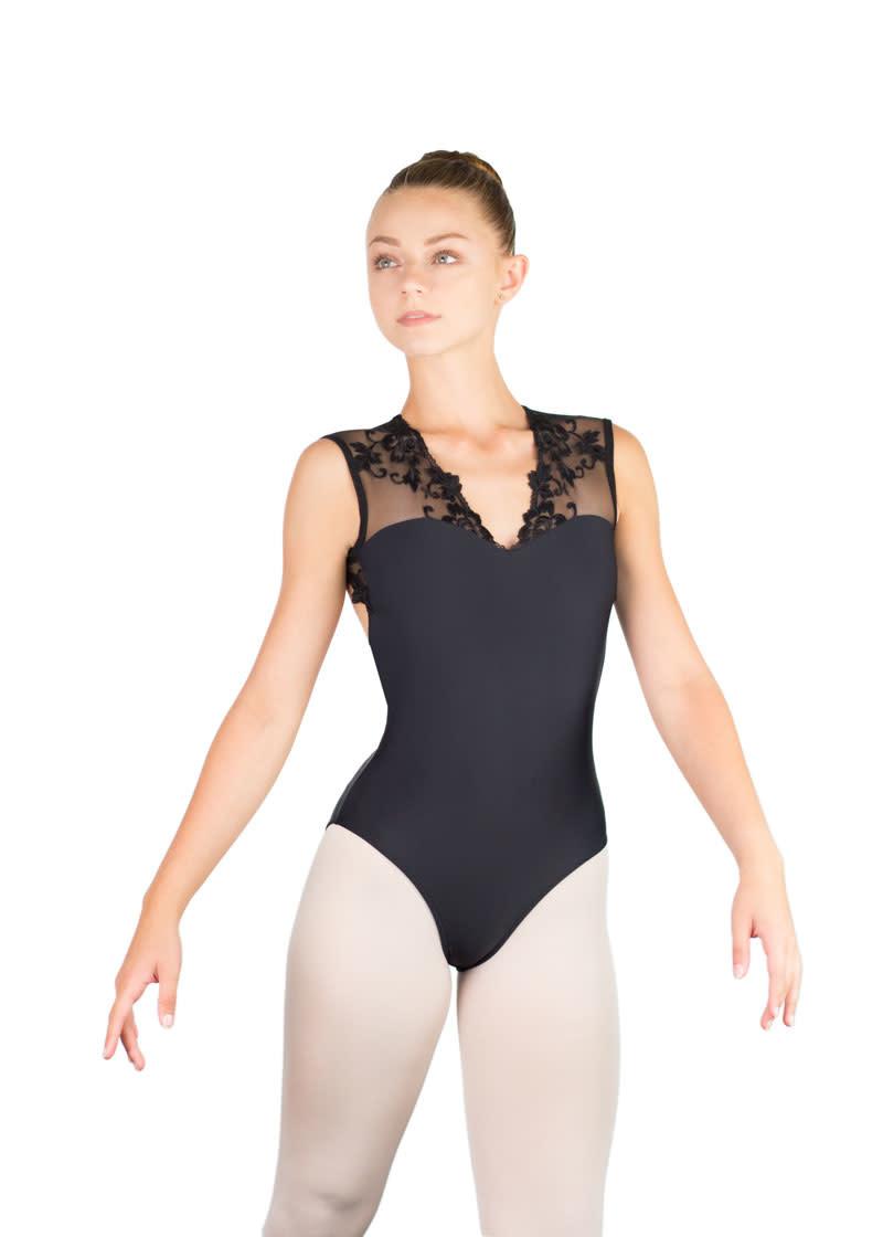 Ballet Rosa EMMELINE-Leotard Dos Ouvert Col V Avec Dentelle Autrichienne-NOIR-38 (S)