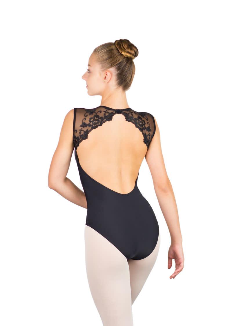 Ballet Rosa EMMELINE-V Neck Open Back Leotard With Austrian Lace-NOIR-38 (S)
