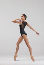 Ballet Rosa CRYSTALE-V Front Full Back Leotard Ornate Mesh-NOIR-38 (S)