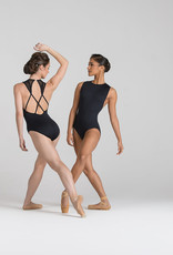 Ballet Rosa SUMMER-Crew Neck X-Back Tank Leotard-NOIR-38 (S)