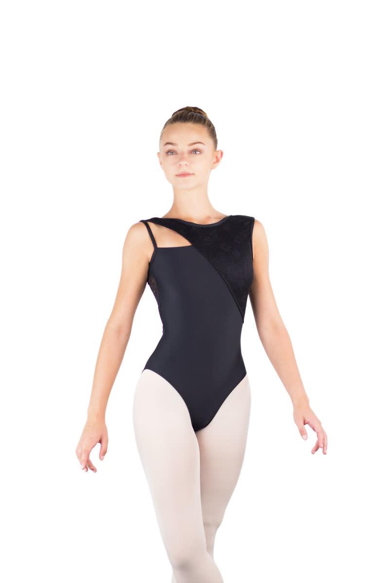 Ballet Rosa HARMONIE-Leotard Asymétrique Dos en X Avec Dentelle-NOIR-38 (S)