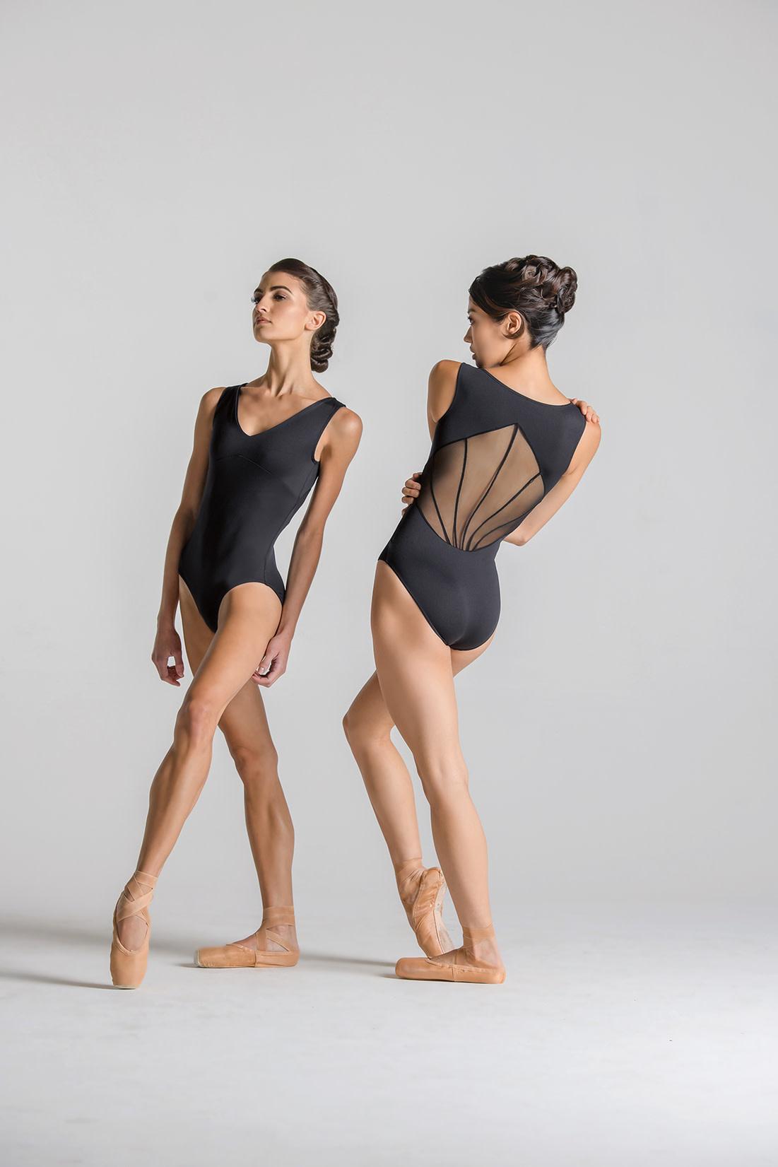 Ballet Rosa RIVER-V Front Full Back Leotard-NOIR-38 (S)
