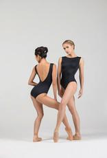 Ballet Rosa AUBRY-Leotard Col Bateau Avec Perles Brodées Dos Bas  -NOIR-38 (S)