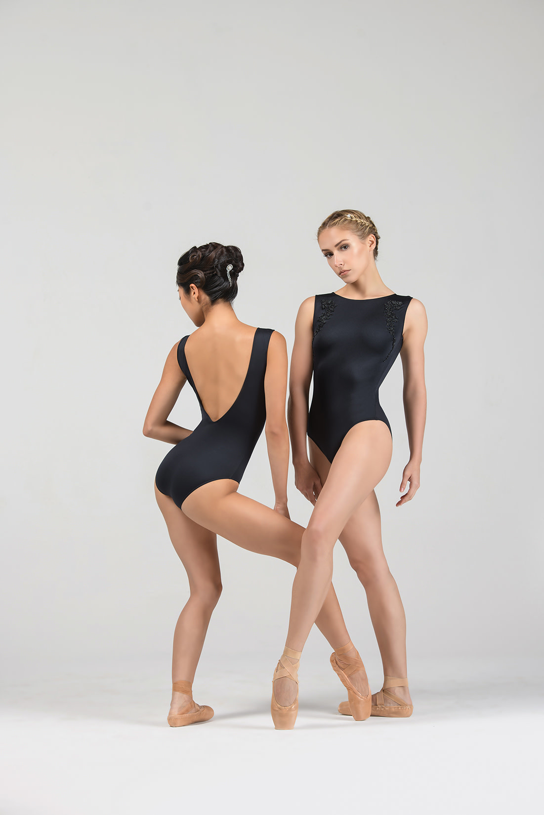 Ballet Rosa AUBRY-Boatneck Low Back With Embroidered Beads-NOIR-38 (S)