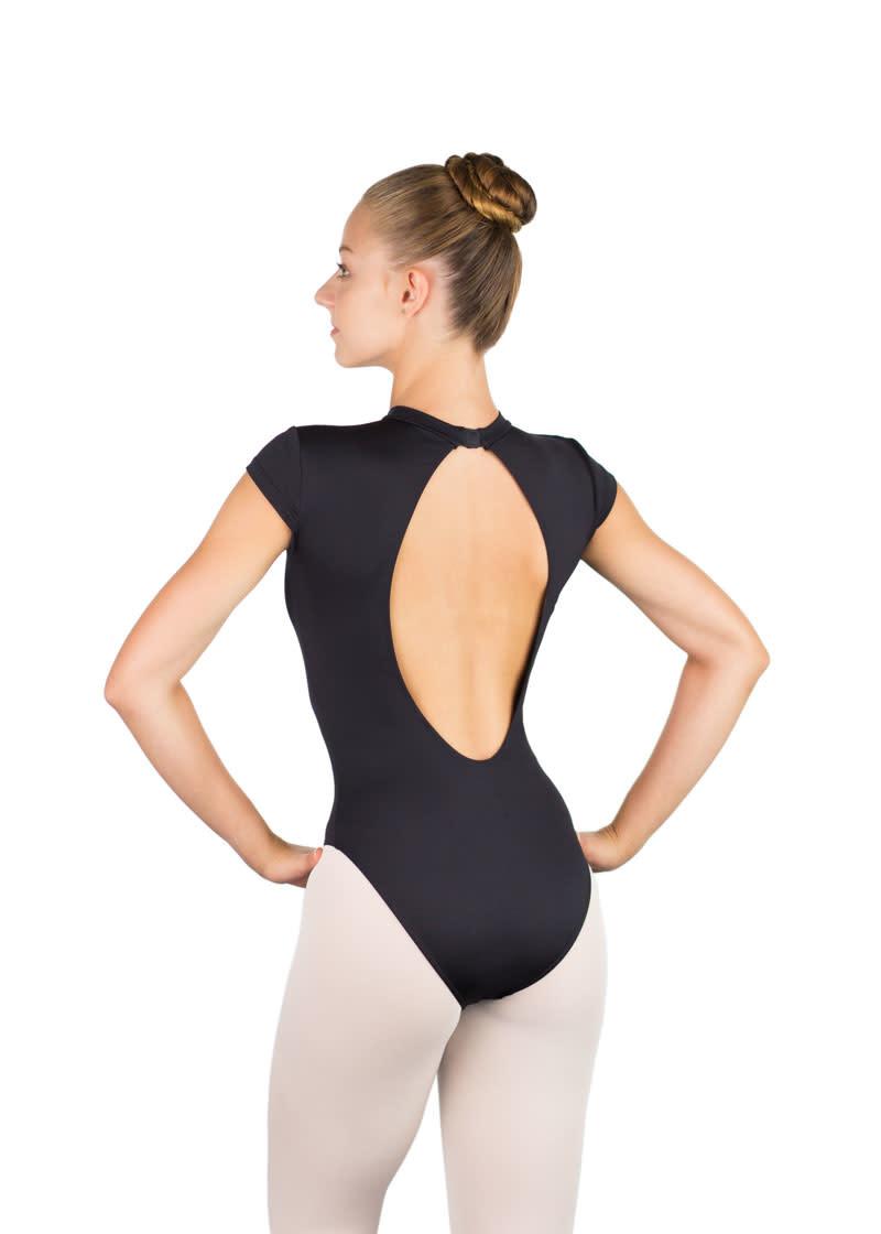 Ballet Rosa NAOMI-Teardrop Back Cap Sleeve Leotard-NOIR-38 (S)