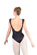 Ballet Rosa GIANNA-Leotard Épaule Plissée Dos Ouvert -NOIR-38 (S)