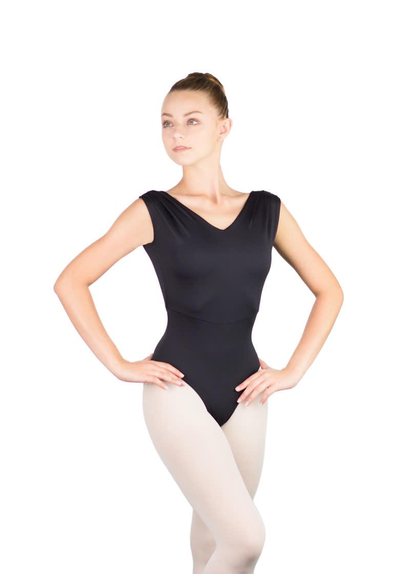 Ballet Rosa GIANNA-Pleated Shoulder Low Back Leotard-NOIR-38 (S)
