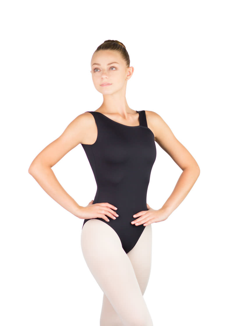Ballet Rosa BIANCA-Asymmetrical V Back Leotard-NOIR-38 (S)