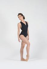 Ballet Rosa GINGER-Leotard Devant Zippé Dos Mesh FloralNOIR-38 (S)