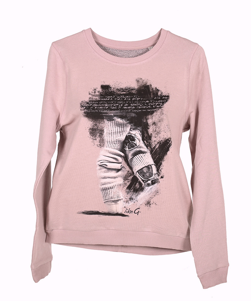 Like G. LG-SW-1P-Sweater Dance Graphic-PINK