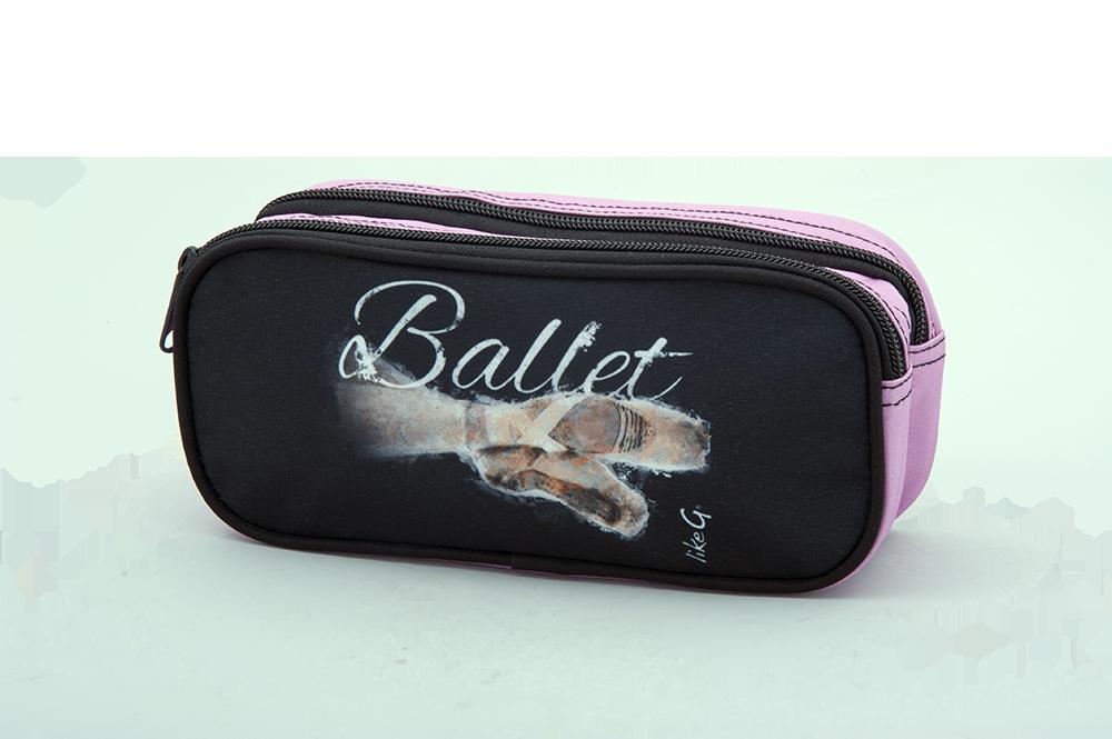 Like G. LG-CASE-104-Double Pencil Case Ballet Graphic