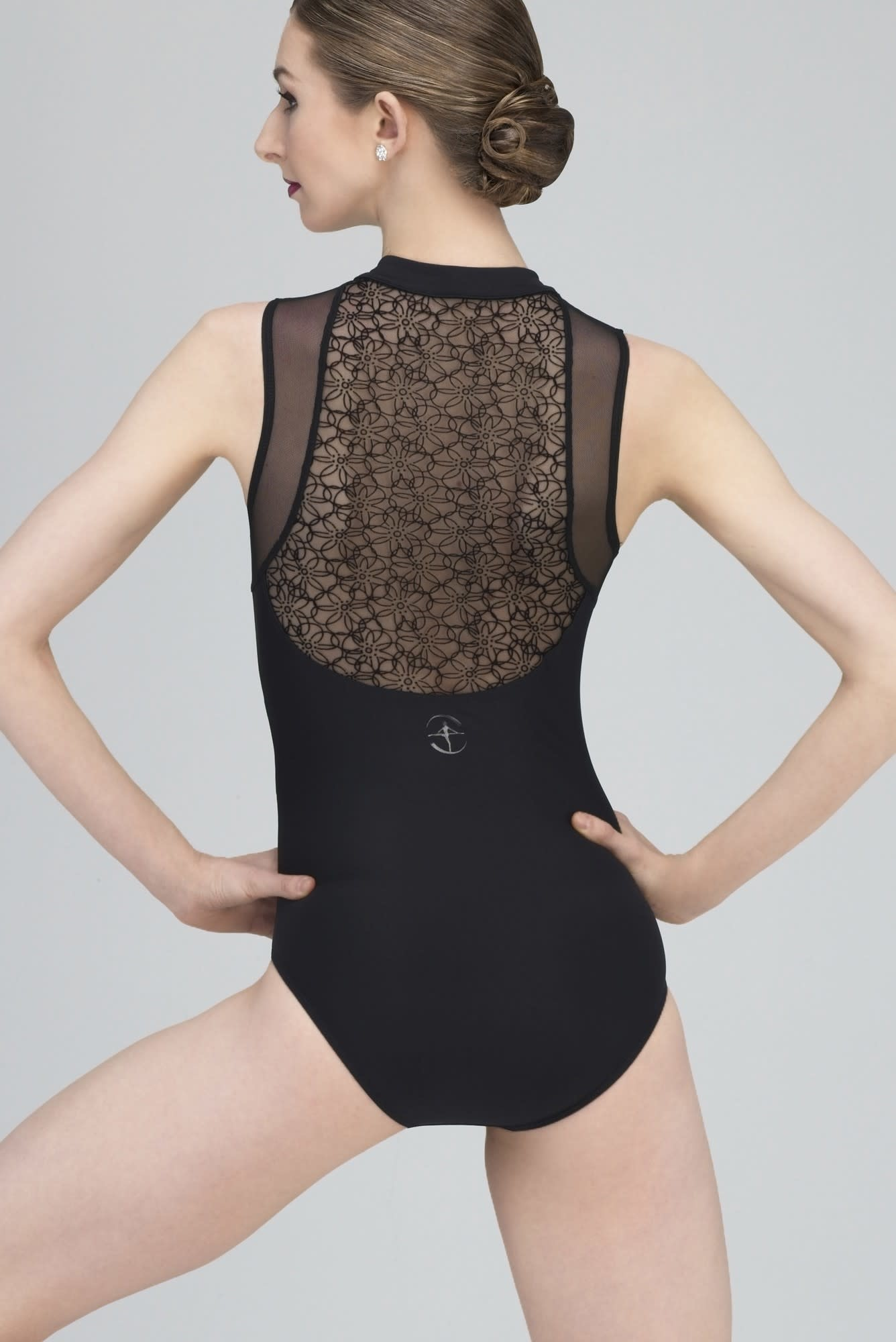 Wear Moi RUMBA-Front-Zip high Neck Leotard Tulle Accents On Back-BLACK
