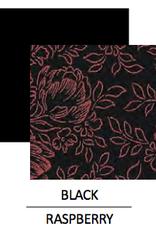 Wear Moi TUCANA-Fancy 3-Fabric Leotard With Crew Neck-BLACK/RASPBERRY