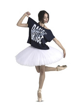 Like G. LG-TP-125-Oversize Crop Top Dance Graphic