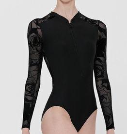 Wear Moi FELICITE-High-Neck Long-Sleeved Leotard With Front Zipper-BLACK