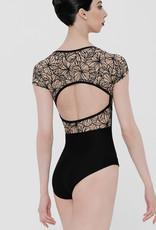 Wear Moi LINDIA-Wide Neckline Leotard Detailed Flocked Sheer Stretch Tulle