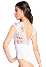 SoDanca RDE-2216-Felixa Cap Sleeve Leotard With Floral Mesh Insert-WHITE