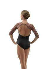 Ballet Rosa ANOUK-Leotard Manches 3/4 Devant V Avec Mesh Brodée