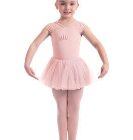 Mirella M1544C-Neckline Daisy Lace Cap Sleeve Tutu Dress-PINK