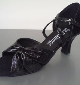 "GOGO / Stephanie Dance Shoes GO1011-Ballroom Shoes 2.5"" Suede Sole-BLACK LEATHER/SCALE"