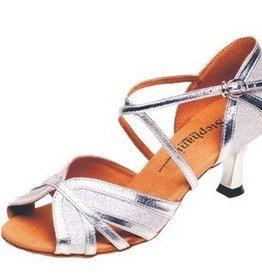 "GOGO / Stephanie Dance Shoes 2083-42-Ballroom Shoes 2.5"" Suede Sole-SILVER"