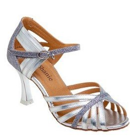 "GOGO / Stephanie Dance Shoes 12076-42-Ballroom Shoes 2.5"" Suede Sole-SILVER  GLITTER"