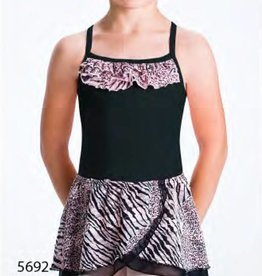 MotionWear 1007-Pull-On Two Tier Wrap Skirt-LEOPARD-XSC