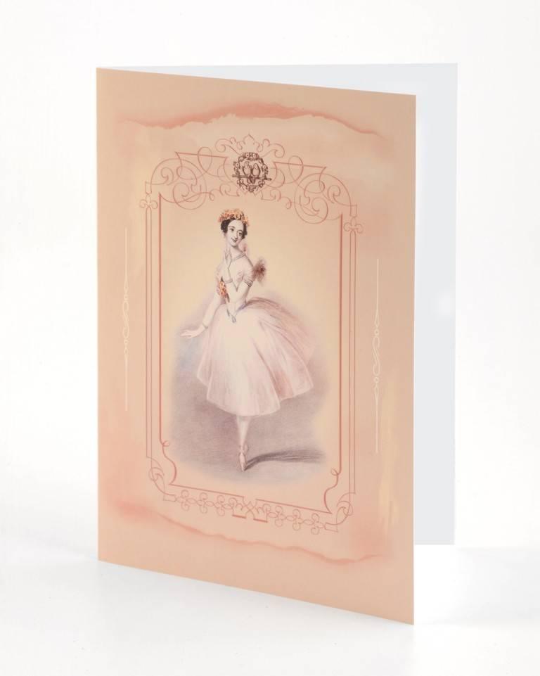 """B Plus 203VIN02-Cartes Vierges en Relief Vintage Marie Taglioni 5"""" x 7 '' - Love Bird"""
