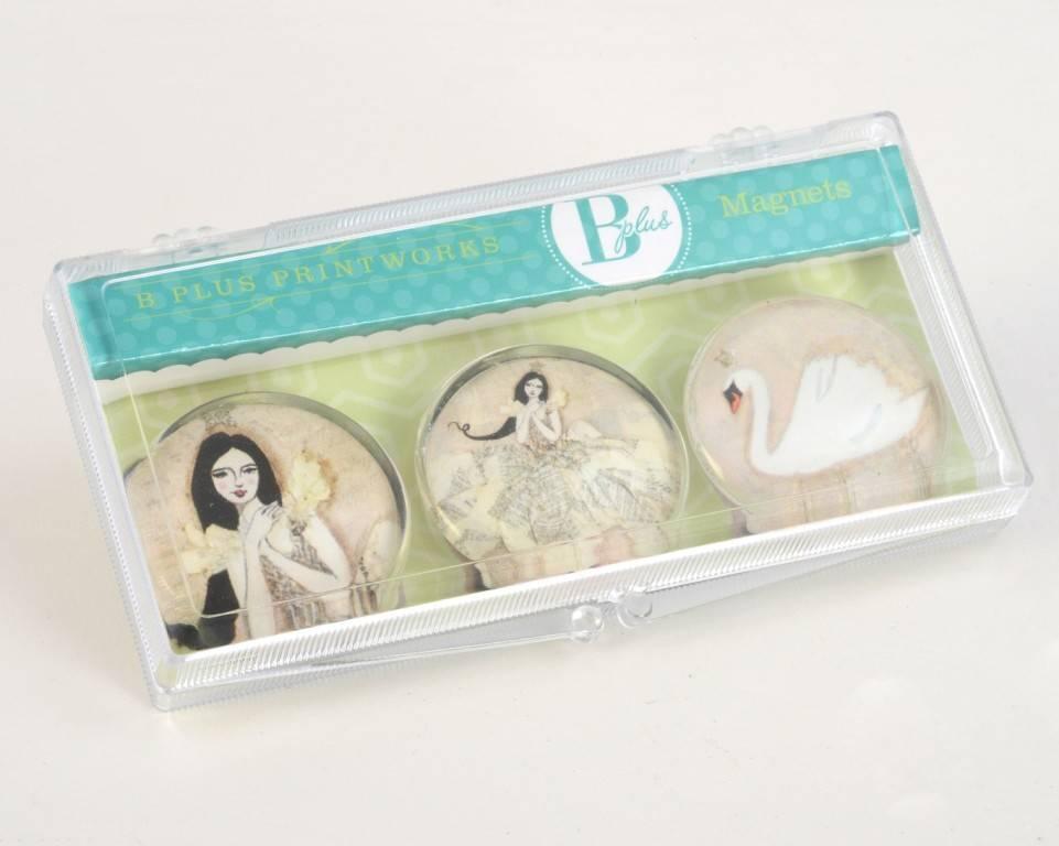 B Plus 502VV04-Vanessa Valencia Glass Magnets 3 Per Box-Swan dance