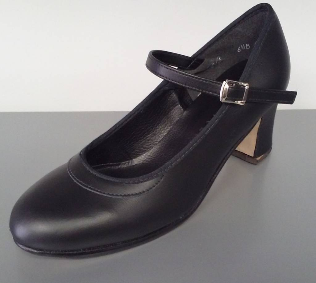 "Angelo Luzio 915L-Chaussures de Flamenco en Cuir 2.25""-NOIR"
