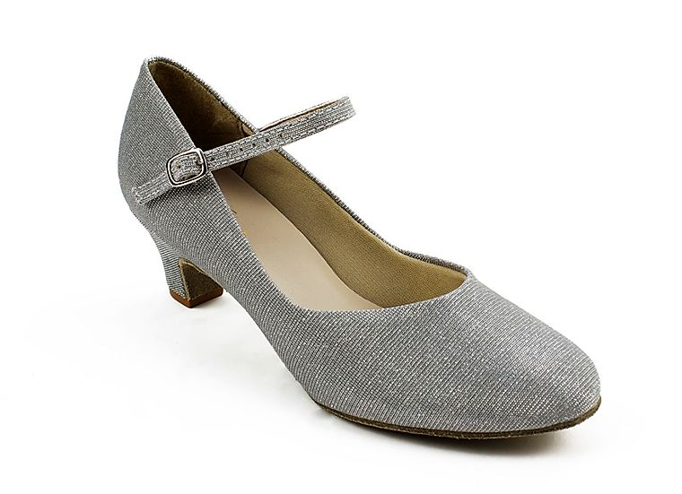 "SoDanca BL116-Ballroom Shoes 1.5"" Suede Sole-Silver Glitter"