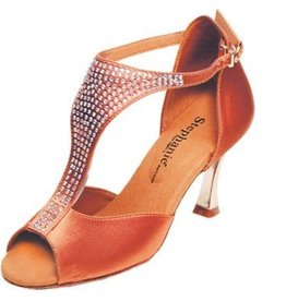 "GOGO / Stephanie Dance Shoes 2085-45-Ballroom Shoes 2.5"" Suede Sol-DARK TAN"