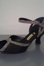 Anatomica 603-Ballroom Shoes 2'' Suede Sole-SATIN NERO/GALAXY