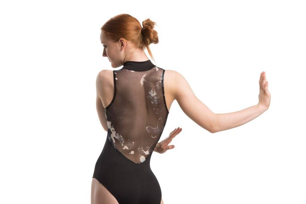 AinslieWear 1062-BU-Zip Front Leotard With Mesh With Moody Print of a Night Garden With Butterflies