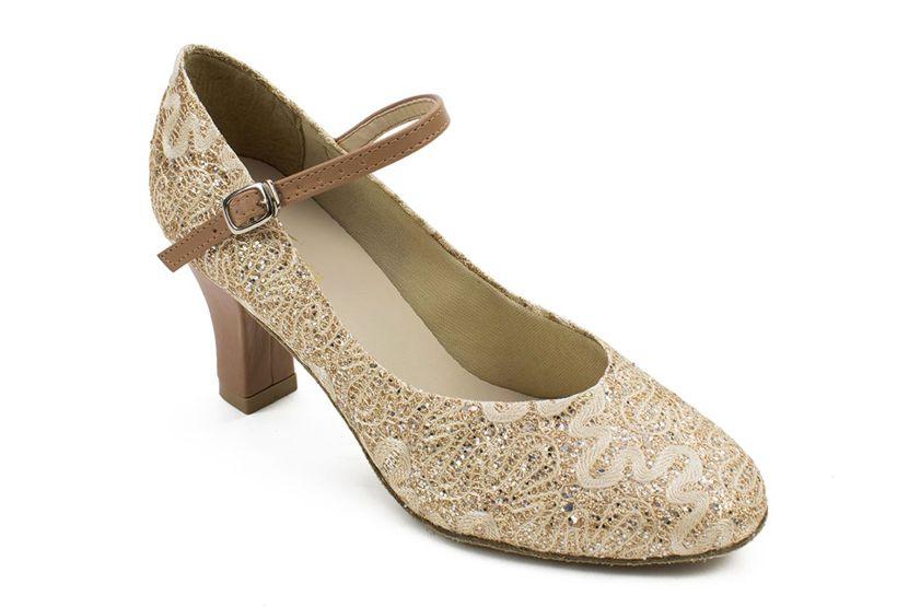 "SoDanca BL166-Rosalina Ballroom Shoes 2.5"" Suede Sole-SPARKLE GOLD"